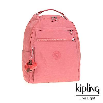 Kipling 後背包 豆沙霧粉素面-大