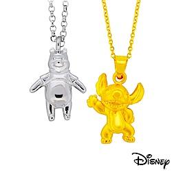 迪士尼系列金飾 立體純銀墜子-樂活維尼款+立體黃金墜子-焦點史迪奇款