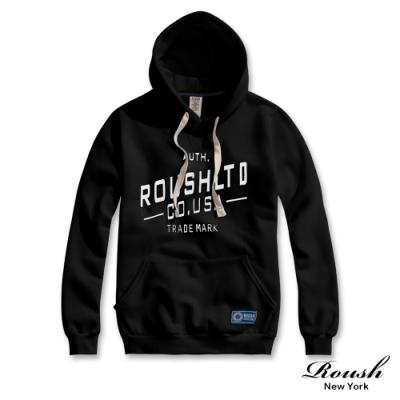 Roush 女生over size美式膠印刷毛帽T(2色)