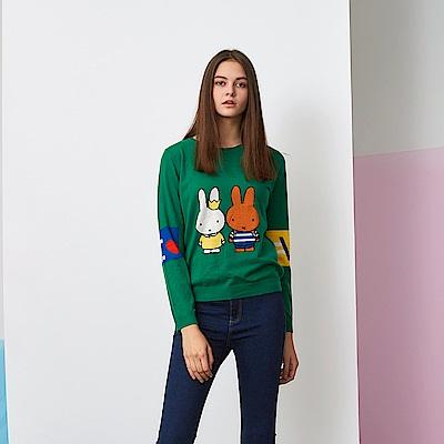 ICHE 衣哲 100%羊毛暖時尚印花長袖針織造型上衣(兩色)-孔雀石綠