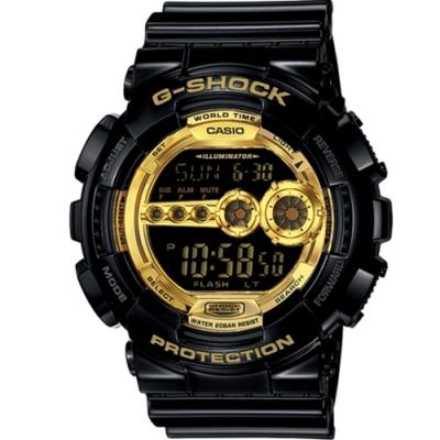 CASIO G-SHOCK 黑金時尚運動錶(GD-100GB-1)黑x金