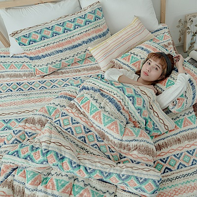 AmissU 北歐送暖法蘭絨單人床包暖暖被三件組 卡洛之舞