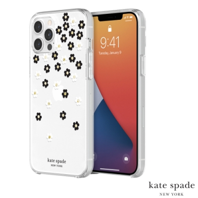 Kate Spade Scattered Flowers iPhone 12 Pro Max 黑白小花+金色鑲鑽透明殼