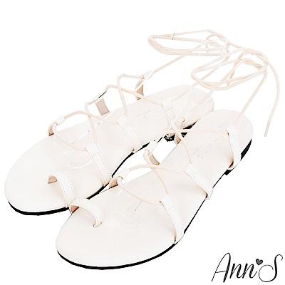 Ann'S二代腳部馬甲線-繫繩繞帶平底羅馬涼鞋-米