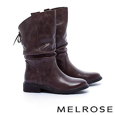 中筒靴 MELROSE 經典百搭率性皺折打臘牛皮粗低跟中筒靴-咖