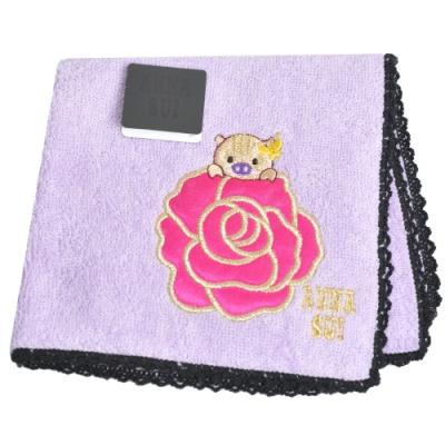 ANNA SUI 可愛小金豬玫瑰字母LOGO刺繡帕領巾(粉紫)