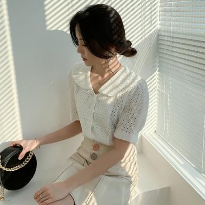蕾絲上衣 娃娃領鏤空質感短袖蕾絲衫RE1917-創翊韓都