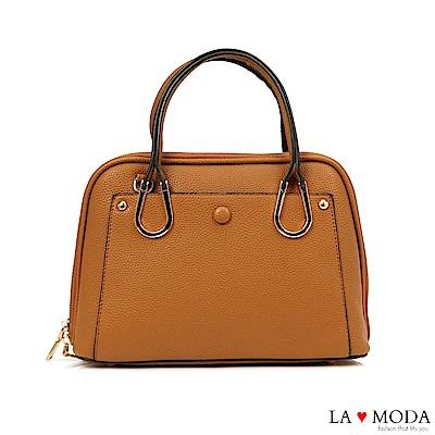 La Moda 優雅淑女風釦飾荔枝紋手提肩背包(棕)