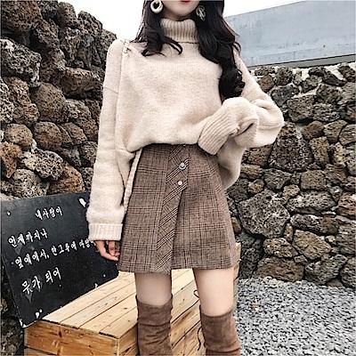 DABI 英倫奶茶系格紋單品短裙