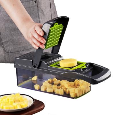 PUSH!廚房用品多功能切壓丁切條濾蛋清馬鈴薯絲手壓切菜器D191-1灰黑色
