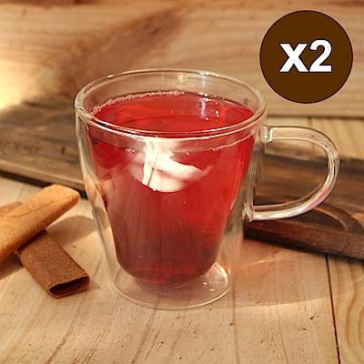 [買一送一] 台灣紅琉璃 雙層玻璃杯-有耳/ 250 ml