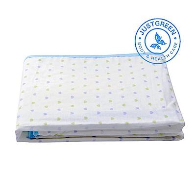 英國 JustGreen 嬰兒純棉紗布防漏尿墊(雙色心型藍邊)大尺寸 70 x 120cm