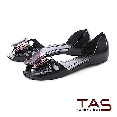 TAS 立體蝴蝶魚口後包涼鞋-璀璨黑