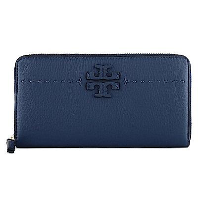 TORY BURCH 壓印LOGO 菱格紋牛皮拉鏈長夾(深藍色)