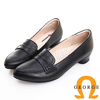 GEORGE 喬治皮鞋 知性復古柔軟羊皮樂福低跟鞋 -黑