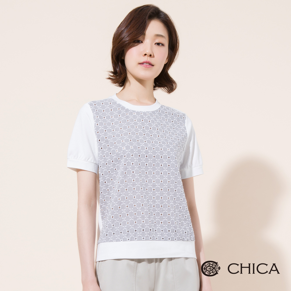 CHICA 清新甜美拼接條紋緹花上衣(2色)