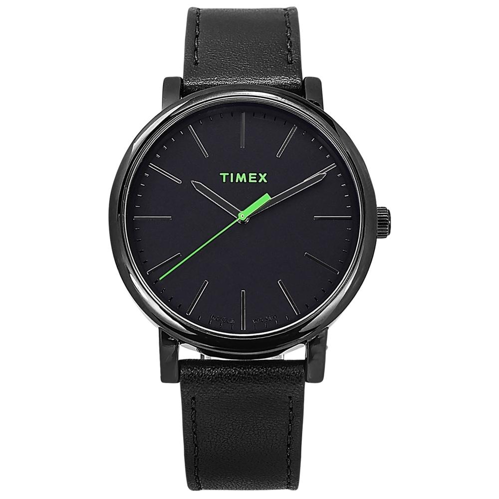 TIMEX 天美時 復刻系列 簡約風格 冷光照明 真皮手錶-黑色/42mm