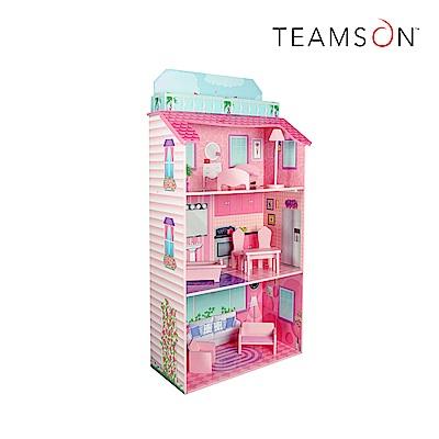 Teamson 魅力粉紅度假娃娃屋 可收納 (附8件傢俱)