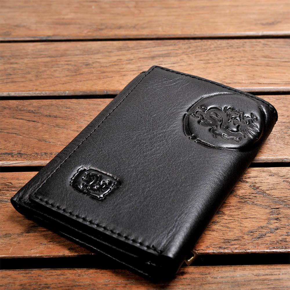 H-CT Wild Tribe系列顯卡式零錢包設計龍紋浮雕真皮口袋夾/黑(WT513BD)