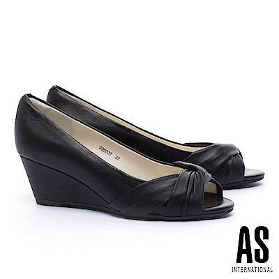 高跟鞋 AS 扭結造型柔軟全真皮魚口楔型高跟鞋-黑