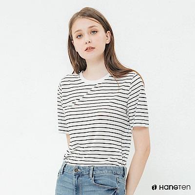 Hang Ten - 女裝 - 簡約韓系細條紋短T - 黑白條