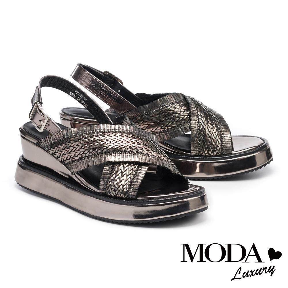 涼鞋 MODA Luxury 個性潮感交叉編織寬帶楔型涼鞋-古銅
