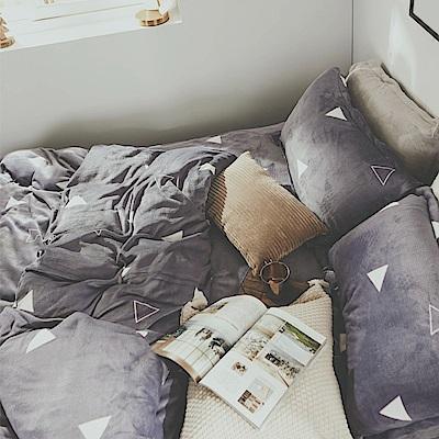 絲薇諾 三角形 加大四件式-法蘭絨 抗靜電鋪棉床包被套組