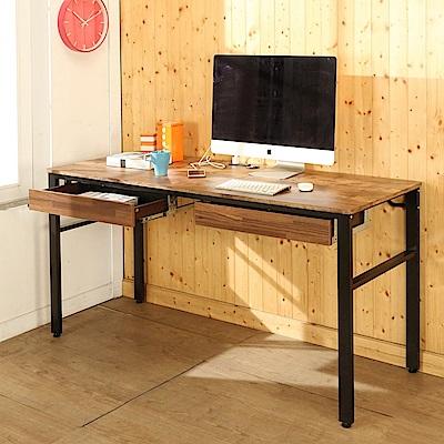 BuyJM低甲醛復古風160公分雙抽屜穩重附插座工作桌-DIY