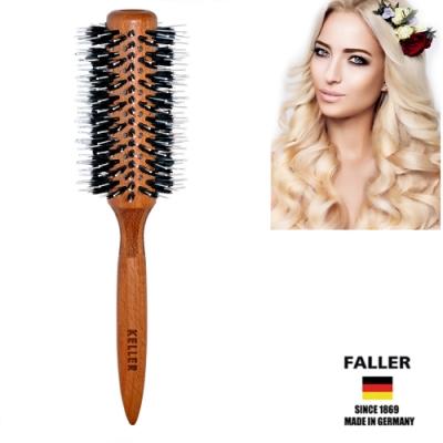 芙樂FALLER德國製FSC櫸木大尺寸黑豚鬃圓珠熱對流熱塑梳 捲髮梳64MM  (一入)