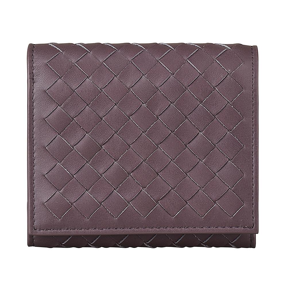 BV BOTTEGA VENETA編織格紋設計5卡羊皮扣式三折短夾(紫灰)