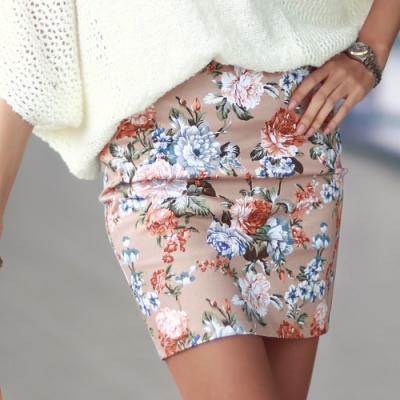 繁花盛開鬆緊腰圍窄短裙 (共二色)N.C21