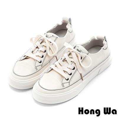 Hong Wa 簡約設計綁帶牛皮小白鞋 - 米