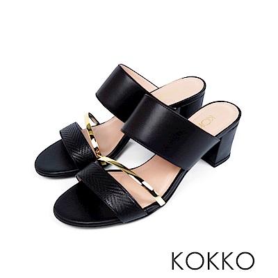 KOKKO - 女王盛宴撞色拼接涼拖粗跟鞋 - 濃蜜黑