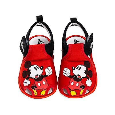 迪士尼童鞋 米奇 趣味寶寶叫叫涼鞋-紅