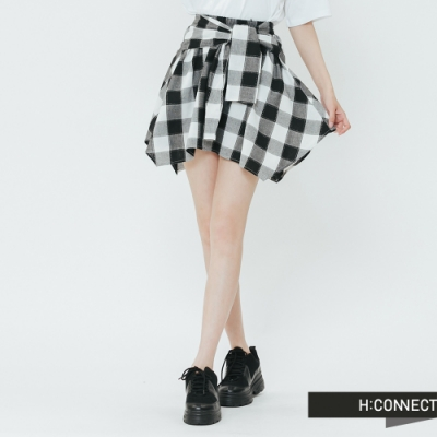 H:CONNECT 韓國品牌 女裝-綁結設計格紋短裙-黑