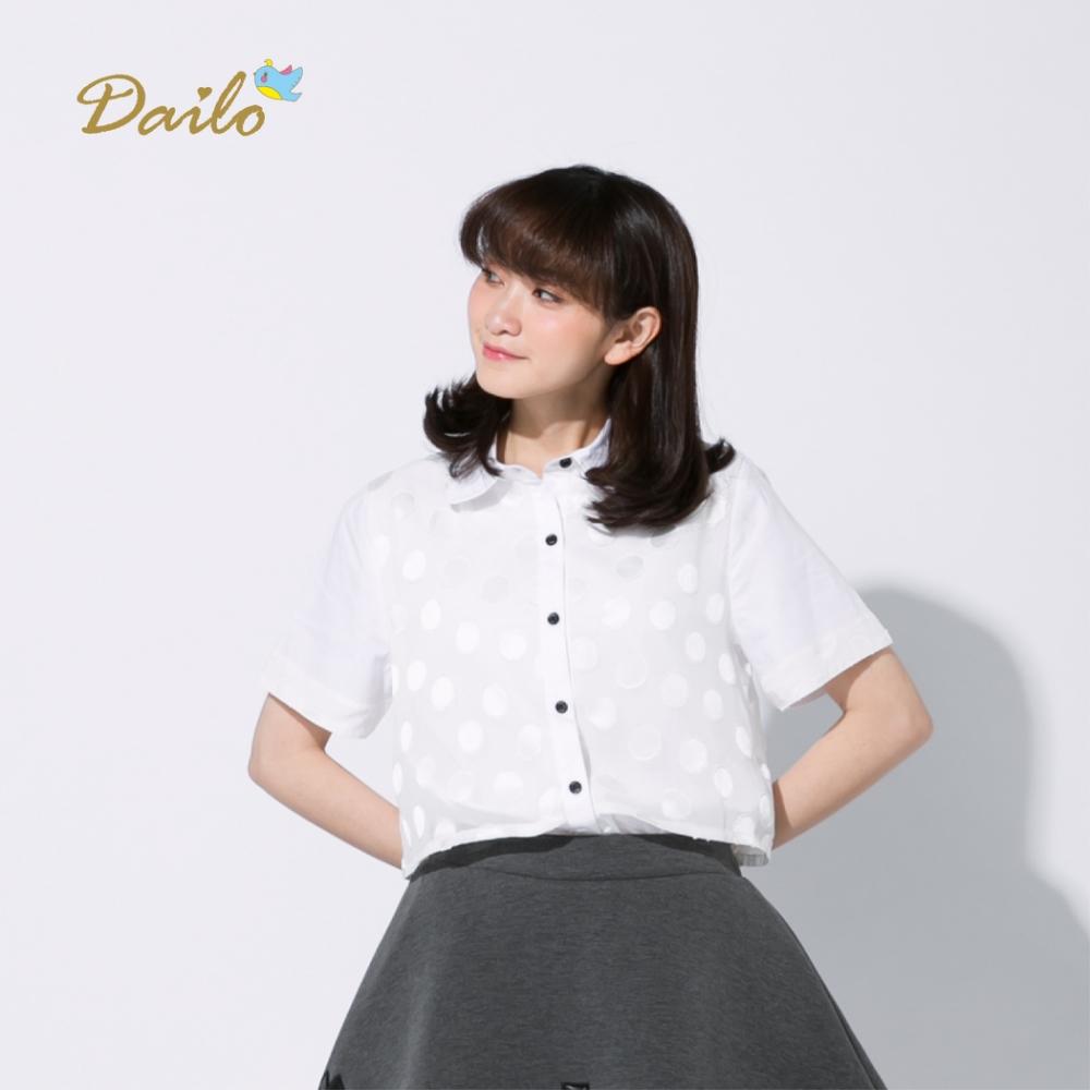 【Dailo】MIT製 點點雙層短袖-襯衫(白色)