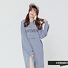 H:CONNECT 韓國品牌 女裝-印字開岔棉質洋裝-藍