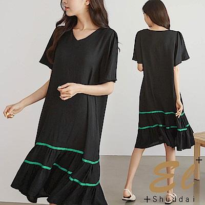正韓 純色荷葉裙擺線條洋裝-(黑色)El Shuddai