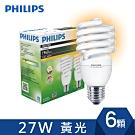 飛利浦-PHILIPS Tornado省電燈泡 27W 黃光(6入)