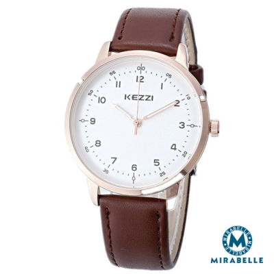 Mirabelle簡約點時 銀框白面皮革男錶 咖40mm(KEZZI)