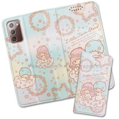 三麗鷗授權 Kikilala 雙子星 三星 Samsung Galaxy Note20 5G 粉嫩系列彩繪磁力皮套(花圈)
