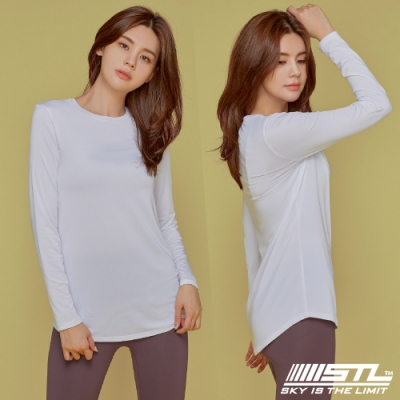 STL yoga ESSENCE LS 韓國瑜珈 運動機能 本質長版 合身蓋臀長袖上衣 白