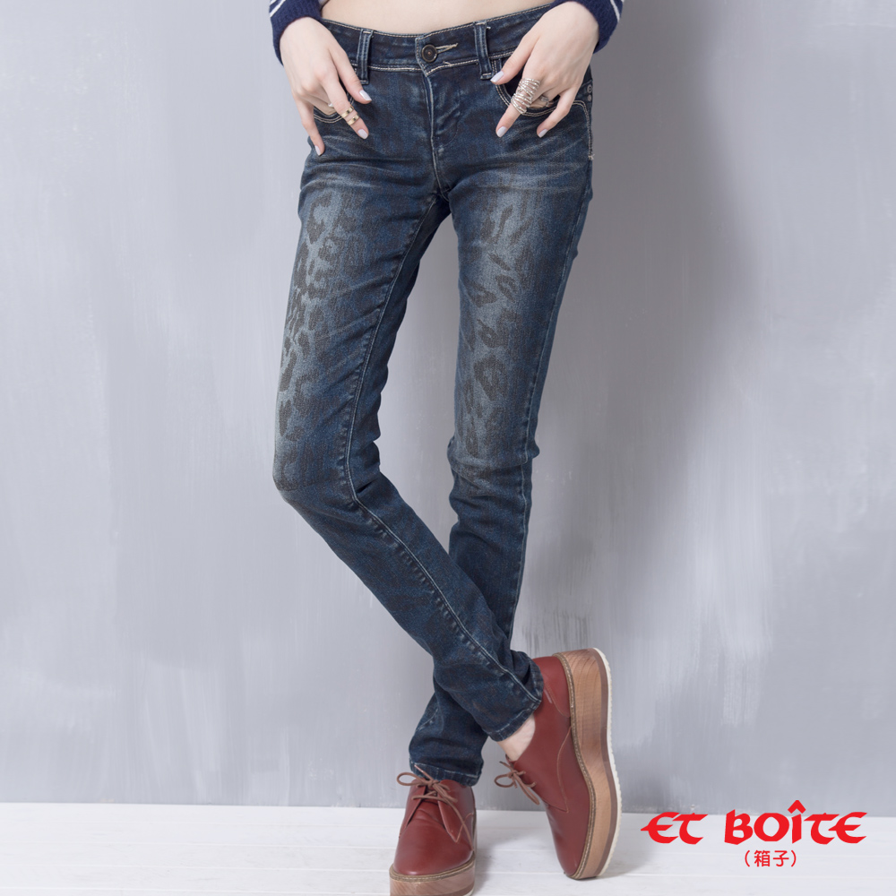 ETBOITE 箱子 BLUE WAY 豹紋魔力低腰窄直褲