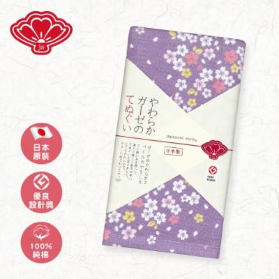 日纖 日本泉州純棉長巾34x90cm(紫幻舞櫻)