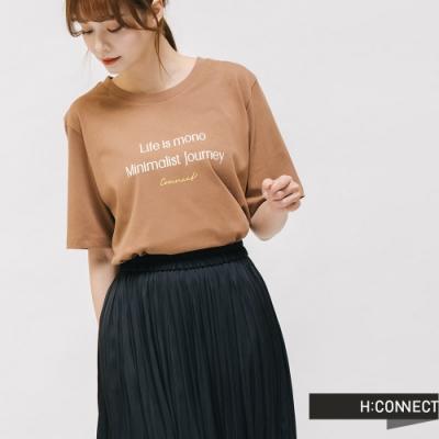 H:CONNECT 韓國品牌 女裝 -純色圓領標語T-shirt - 棕