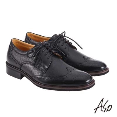A.S.O 職場通勤 萬步健康鞋 異材質搭配紳士鞋-黑