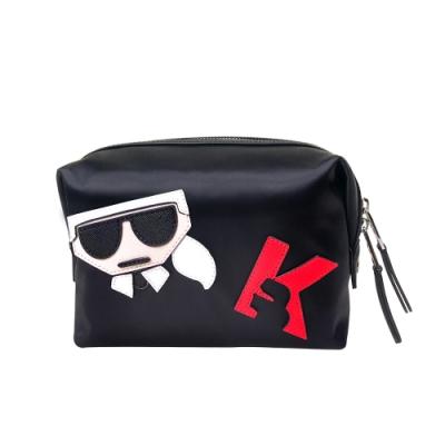 [時時樂限定]Karl Lagerfeld時尚老佛爺Q版多功能拉鍊開口化妝包(黑)