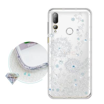 HTC Desire 19s/19+ 共用款 浪漫彩繪 水鑽空壓氣墊手機殼(風信子)