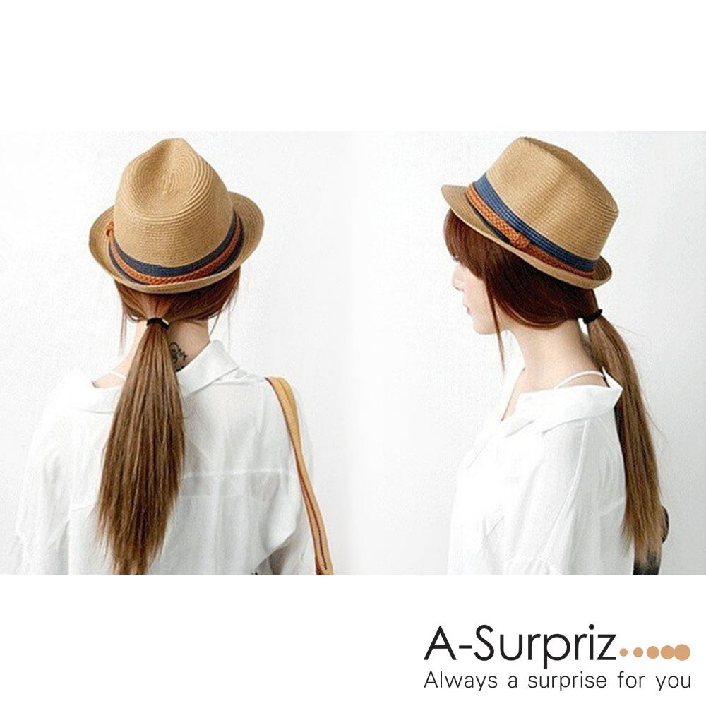 A-Surpriz 雙色拼接織線紳士帽(深卡其)