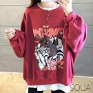 SQUA 不規則切割卡通印花假兩件上衣-(M~XL)